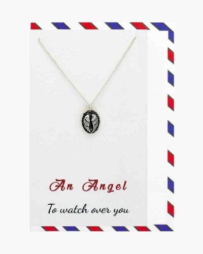 Silver Angel Wings Watch Over You Necklace