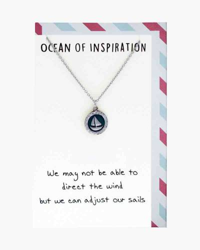 Silver Sailboat Adjust Our Sails Necklace