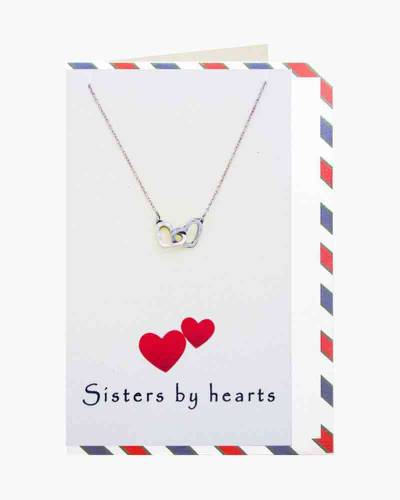 Silver Sisters By Hearts Necklace