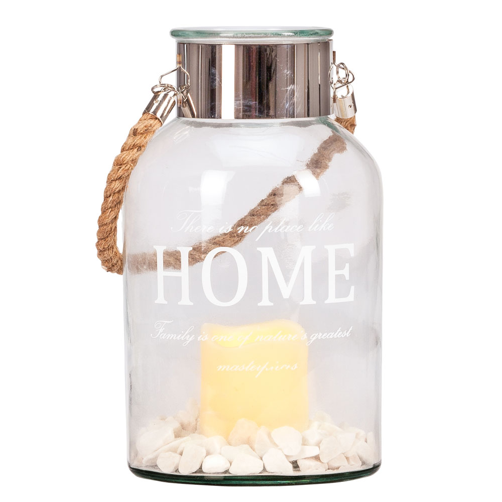 Feldstein & Associates LED Candle Lantern with Stones