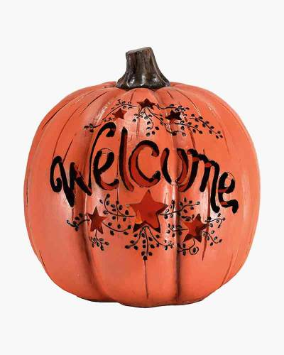 Light-Up Welcome Pumpkin Table Decoration