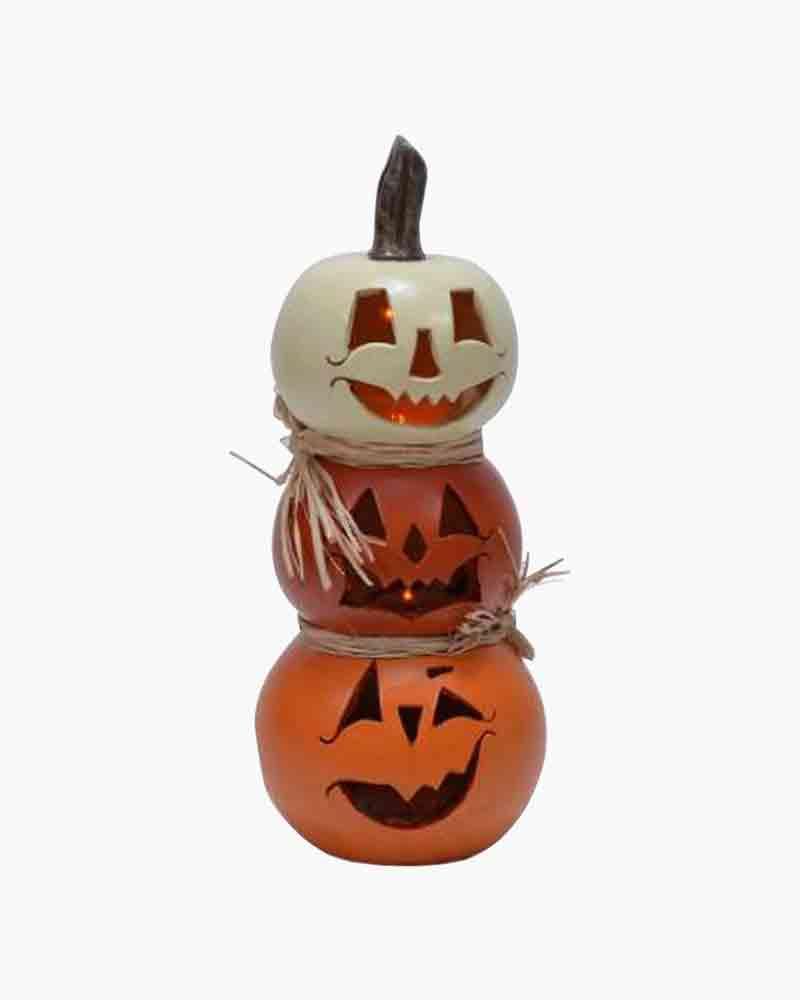"triple stacked 12"" tall resin LED gourd/pumpkin light"