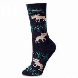 For Bare Feet Moose Silhouette Socks