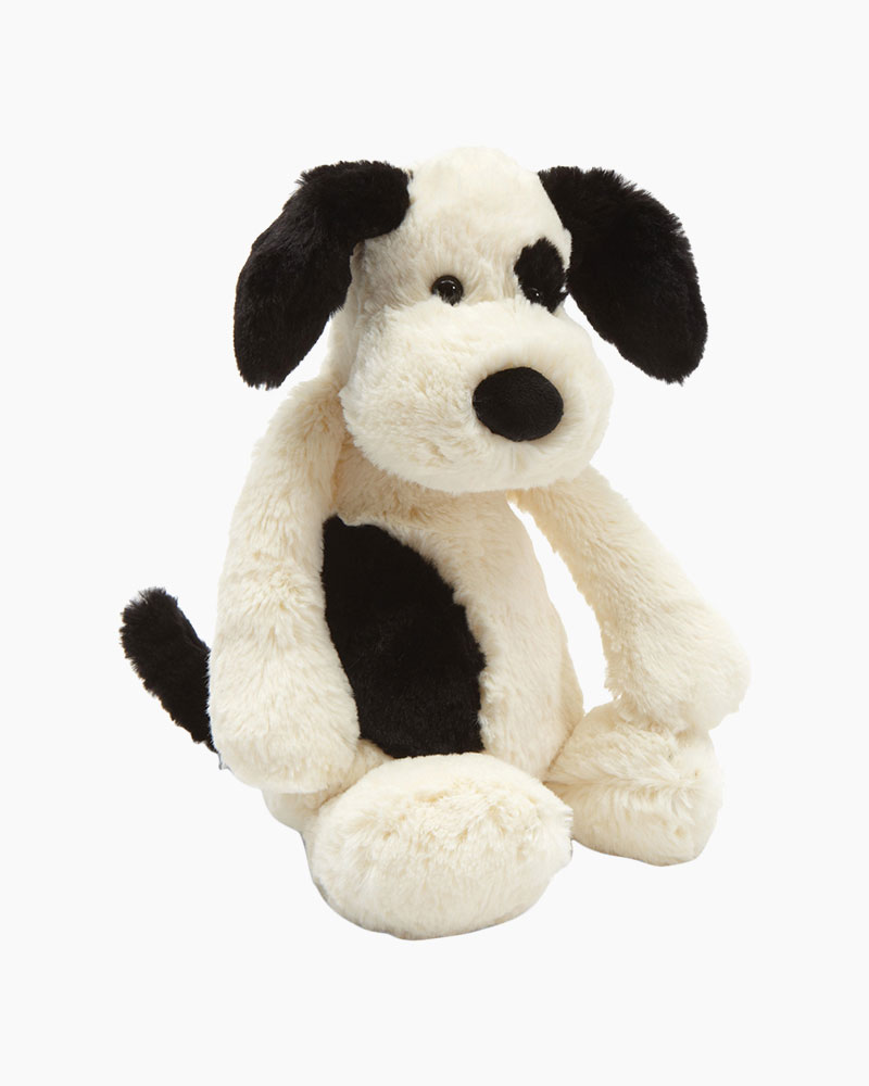 Jellycat Bashful Black Cream Puppy Plush
