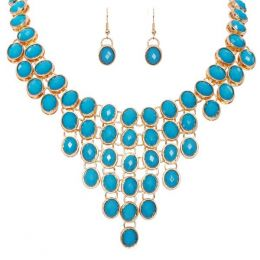 The Paper Store Beaded Bib Necklace and Earrings Set