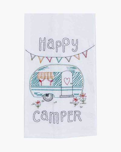 Happy Camper Embroidered Flour Sack Towel