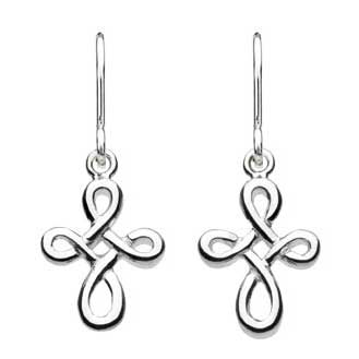 Twist Celtic Cross Drop Earrings