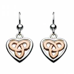Kit Heath Heritage Rose Gold Celtic Heart Earrings