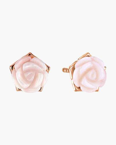 Rose Gold Plated Mother of Pearl Rose Stud Earrings
