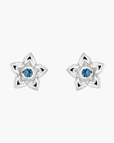 Blue Cubic Zirconia Petals Stud Earrings