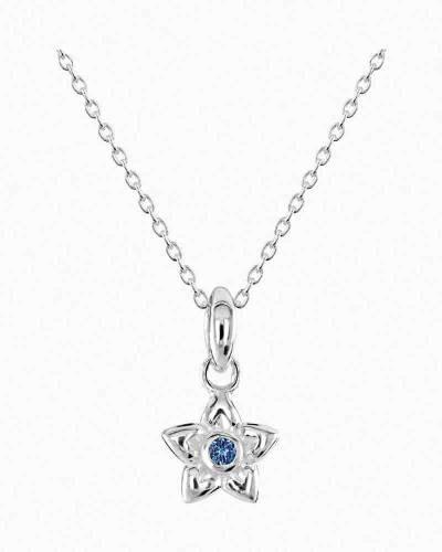 Blue Cubic Zirconia Love Petals Pendant Necklace