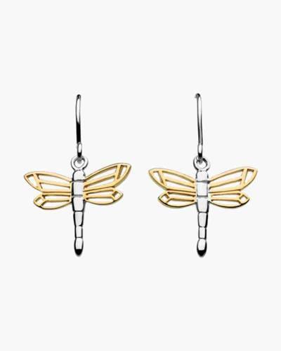Two-Tone Dragonfly Drop Earrings