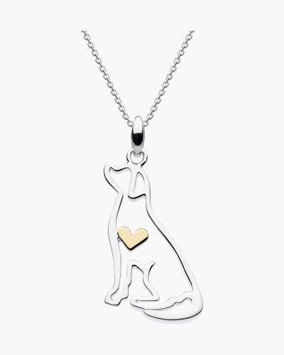 Two-Tone Labrador Heart Pendant Necklace
