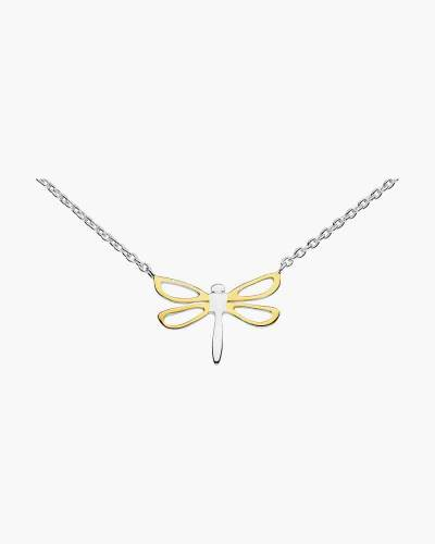 Two-Tone Open Wing Dragonfly Necklace