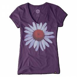 Life is Good Women's Plum Daisy Newbury Vee Tee