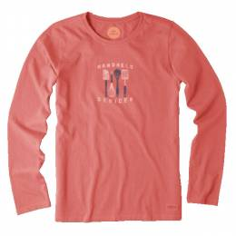 Life is Good Women's Coral Handheld Devices Long Sleeve Crusher Tee