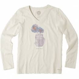 Life is Good Women's Ivory Engraved Daisy Jar Long Sleeve Crusher Tee