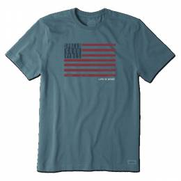 Life is Good Men's Blue Good Vibes Flag Crusher Tee
