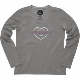 Life is Good Women's Grey Feel the Love Long Sleeve Crusher Tee
