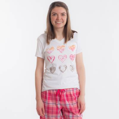 Women's Watercolor Heart Images Pocket Sleep Vee