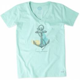 Life is Good Women's Find Your Anchor V-Neck Crusher Tee