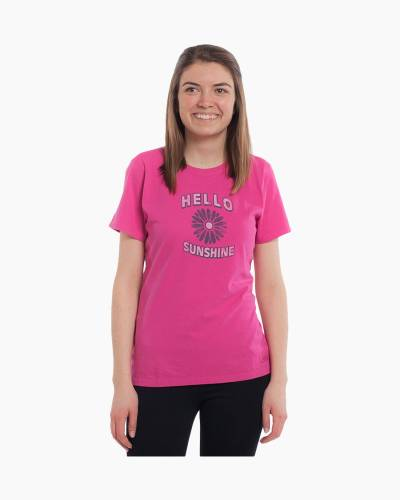 Women's Hello Flower Crusher Tee in Bold Pink