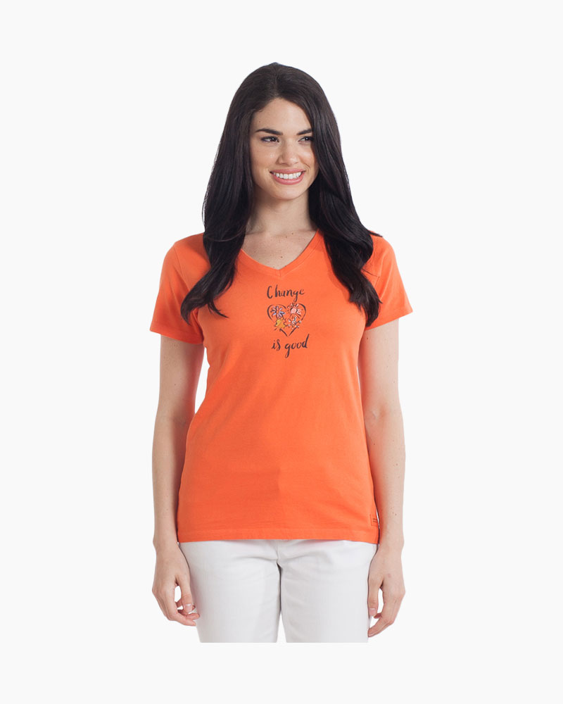 Life is Good Women's Painted Change is Good Crusher Vee Tee in Coral Orange