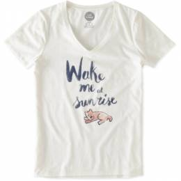 Life is Good Women's Wake Me at Sunrise Rocket Sleep Vee Tee in Simply Ivory