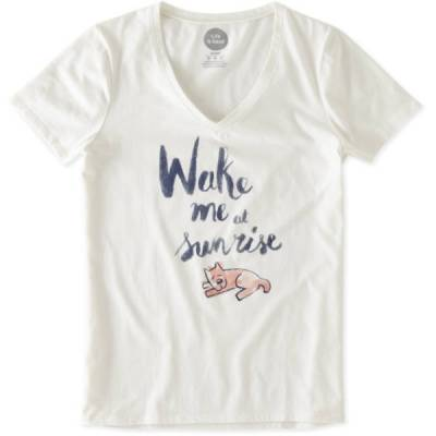 Women's Wake Me at Sunrise Rocket Sleep Vee Tee in Simply Ivory