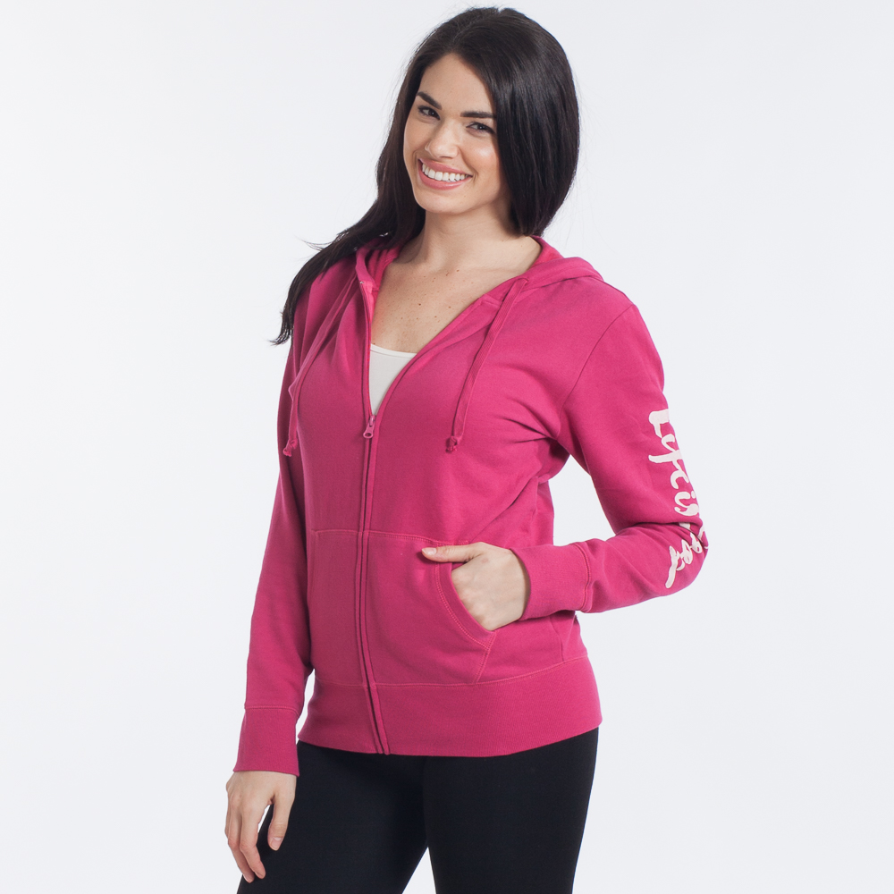 Life is Good Women's Life is Good Painted Go-To Zip Hoodie in Rose Berry