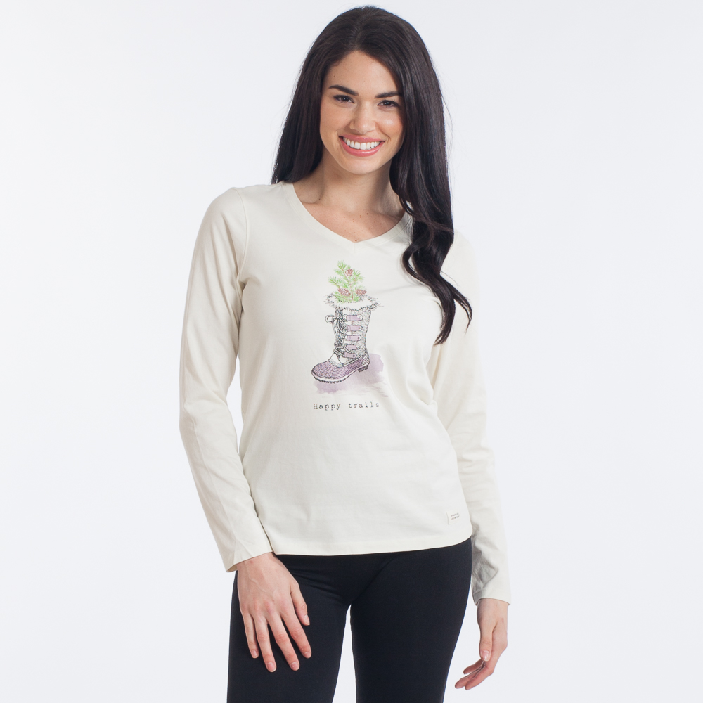 Life is Good Women's Happy Trails Crusher Long Sleeve Vee in Simply Ivory