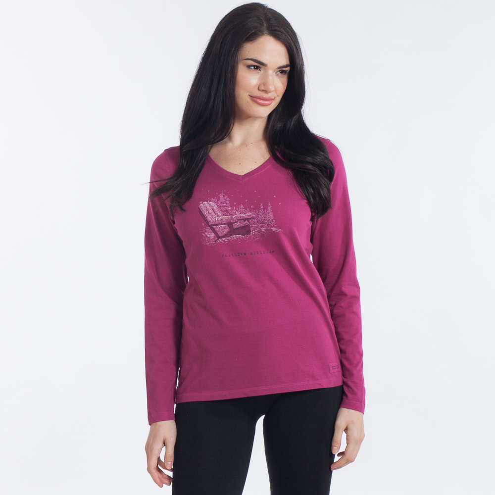 Life is Good Women's Positive Attitude Crusher Long Sleeve Vee in Rose Berry