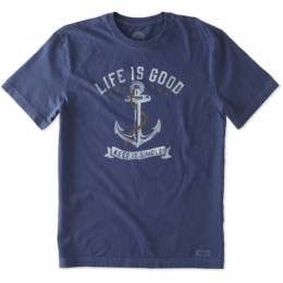 Life is Good Men's Keep It Simple Anchor Crusher Tee in Blue