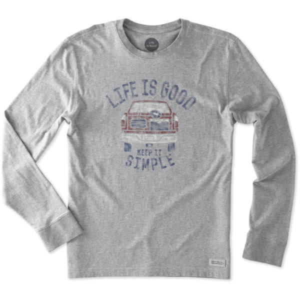 Life is Good Men's Keep It Simple Tailgate Long Sleeve Crusher Tee in Heather Grey
