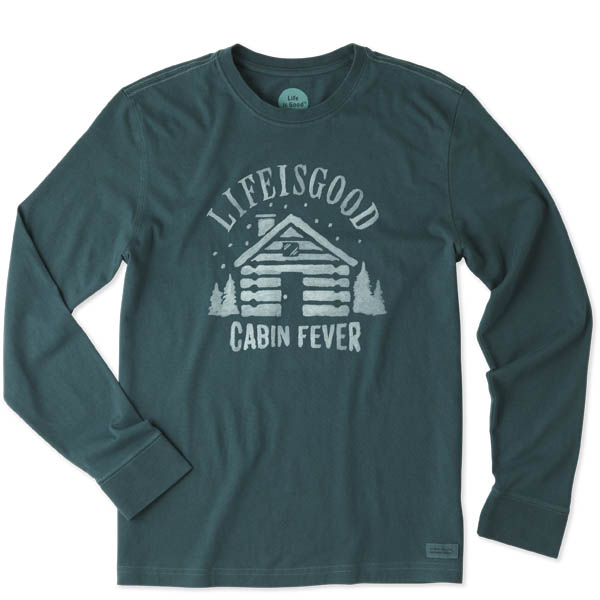 Life is Good Men's Cabin Fever Long Sleeve Crusher Tee in Balsam Green