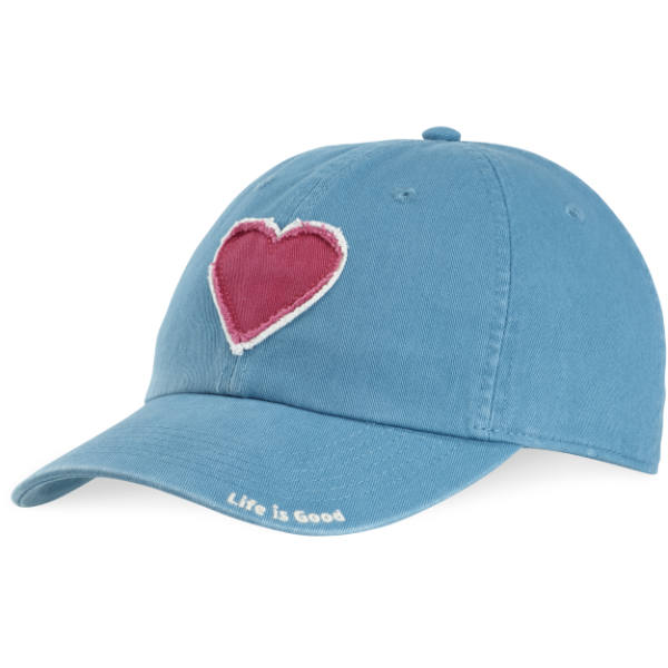 Life is Good Women's Tattered Heart Chill Cap in Denim Blue
