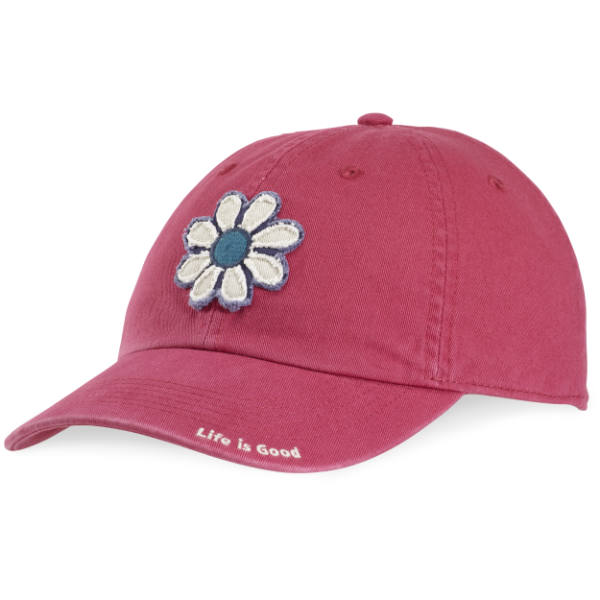 Life is Good Women's Tattered Flower Chill Cap in Rose Berry