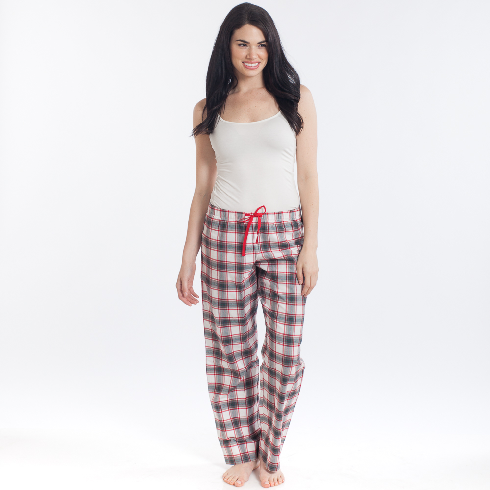 Life is Good Women's Ivory Red Plaid Classic Sleep Pants
