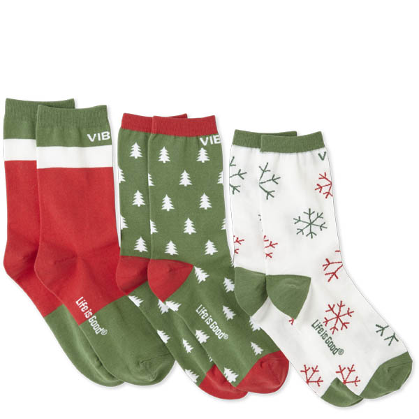 Life is Good Women's Good Vibes Holiday 3-Pack Crew Sock Bundle