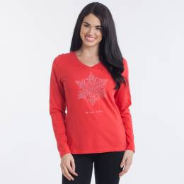 Life is Good Women's Be You Tiful Snowflake Long Sleeve Crusher Vee
