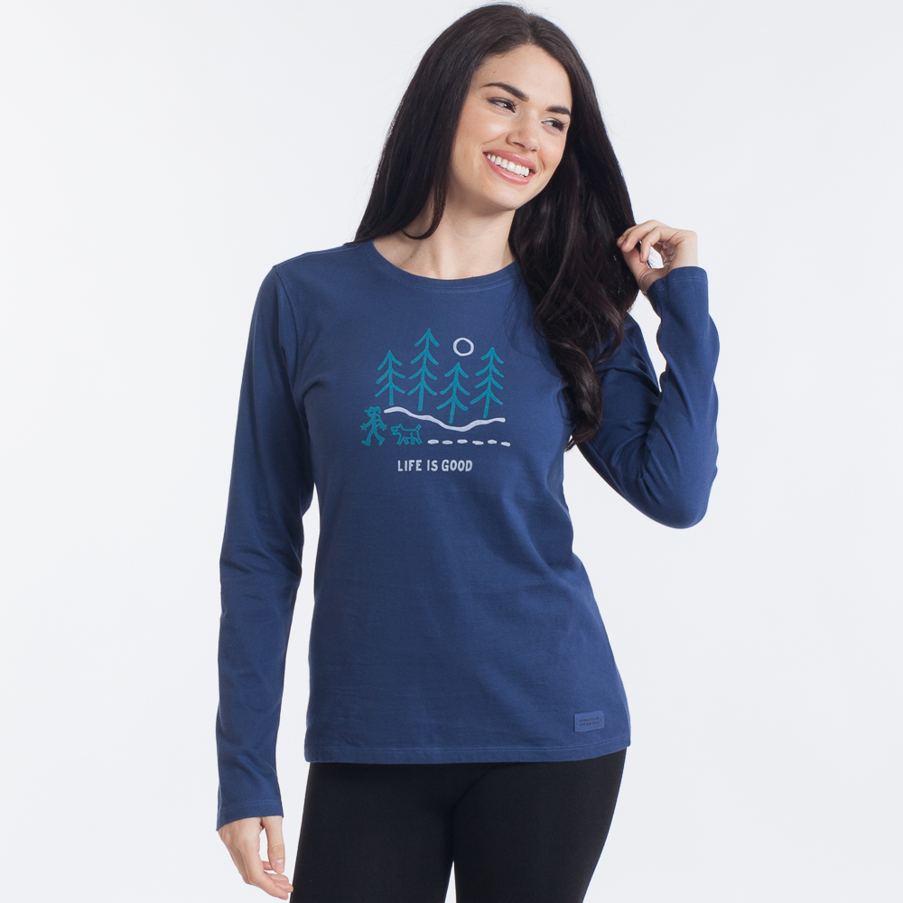 Life is Good Women's Moonlight Woods Long Sleeve Crusher Tee