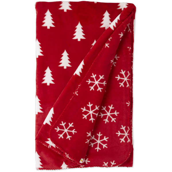Life is Good Pine Trees and Snowflakes Blanket