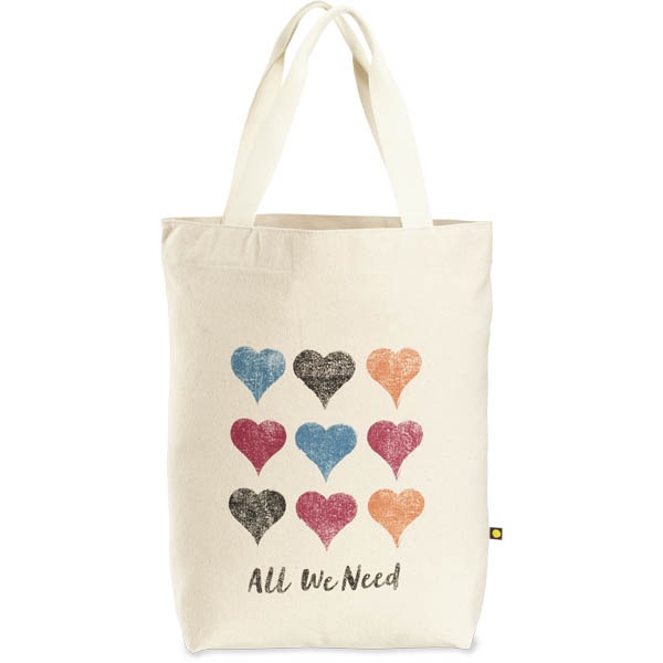 Life is Good All We Need Hearts Messaging Tote