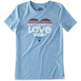 Life is Good Women's Love Heart Cool Tee in Cloud Blue