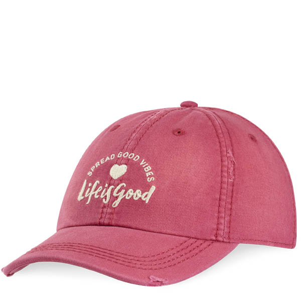 Life is Good Spread Good Vibes Chill Cap in Rose Berry