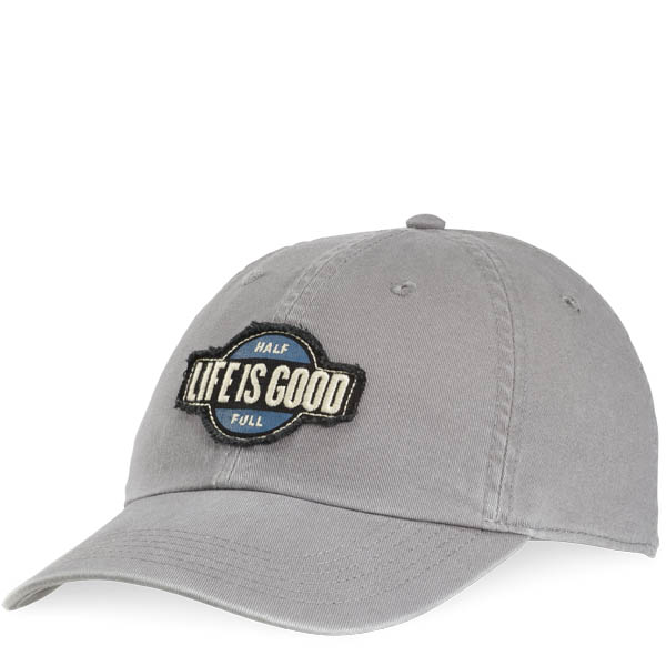 Life is Good Half Full Tattered Chill Cap in Slate Grey
