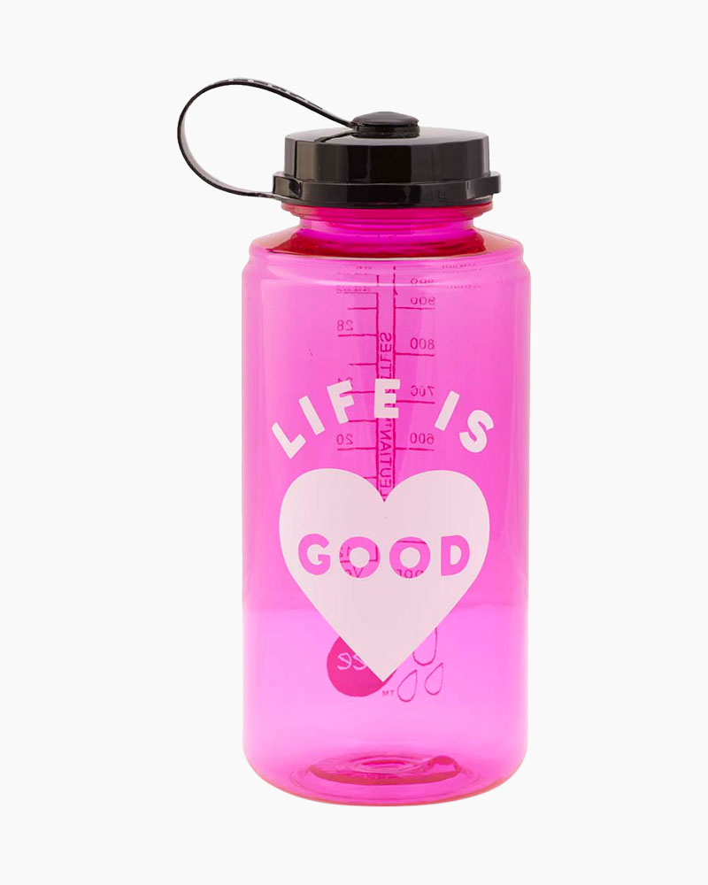 Life is Good Pink Heart Water Bottle