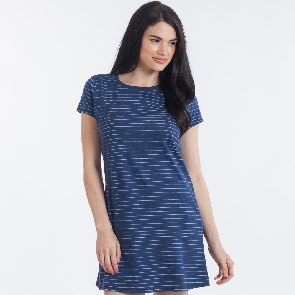 Life is Good Women s Blue and White Stripe T-Shirt Dress  07577a26a