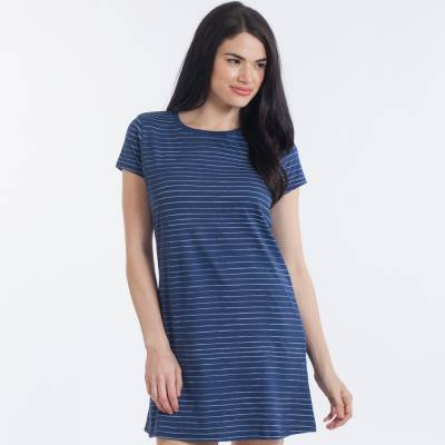 Women's Blue and White Stripe T-Shirt Dress