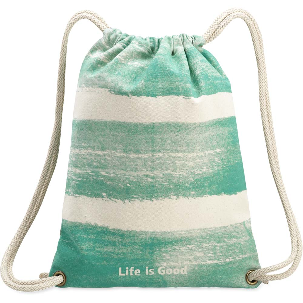 Life is Good Blue Stripes Messaging Cinch Sack
